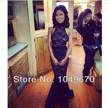 Elegant Evening Gowns Formal Black Halter Lace Mermaid Prom Dresses Long Vestidos De Fiesta 2014 New Fashion Party Dress F&M-802
