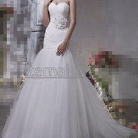 Elegant Simple Sweetheart Neckline Ruched Bodices Tulle Mermaid Wedding Dress/ Tulle Wedding Gown/ Tulle Dress long sash/belt