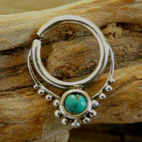 Silver Septum For Pierced Nose - Nose jewelry - Septum Jewelry - Indian Nose Ring - Ethnic Septum - Septum Piercing (Code: S35)