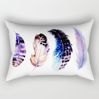 Watercolor Feathers Rectangular Pillow by Smyrna