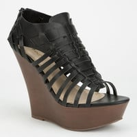 Bamboo Stef Womens Wedges Black  In Sizes