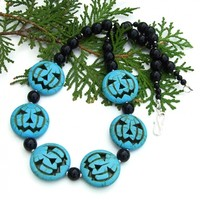 Halloween Jack O Lantern Necklace, Turquoise Black Handmade Jewelry