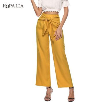 Summer Women Wide Leg Pants Loose High Waist Slim Pants Solid Bow Tie Bell Bottom Pant For Women