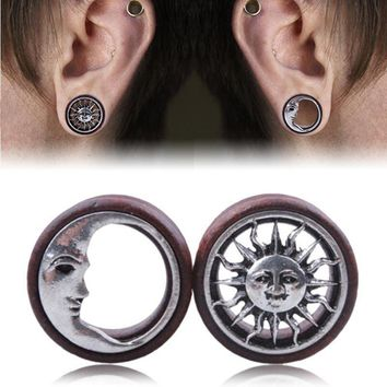 Wooden Sun & Moon Ear Plugs Gauges 8mm-20mm