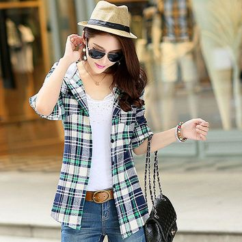 Hot Autumn Red Checked Plaid Sweatshirt Shirt Women Hoodie Long Sleeve Casual Fit Blouse Plus Size