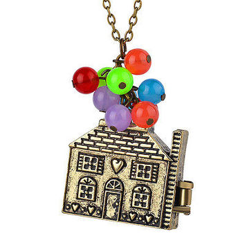 House with Balloons Up Movie Chain Pendant Necklace Antique Anniversary GiftHU