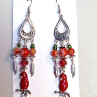 Parrot Earrings Red Millefiori Handcrafted
