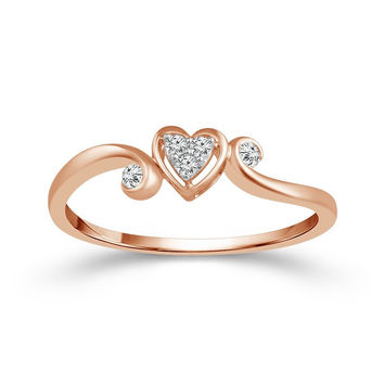 10K Rose Gold Heart Shaped Cluster Diamond Promise Ring