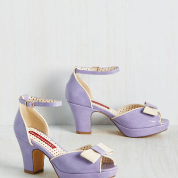 Bowed and Boating Heel in Lavender | Mod Retro Vintage Heels | ModCloth.com