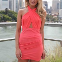 Coral Fitted Dress with Criss-Cross Front & Back
