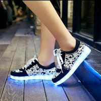 Size 35-43 Led Shoes Glowing 11 Colors LED Men Women Fashion Luminous Led Light UP Shoes for Adults free shipping  JF056