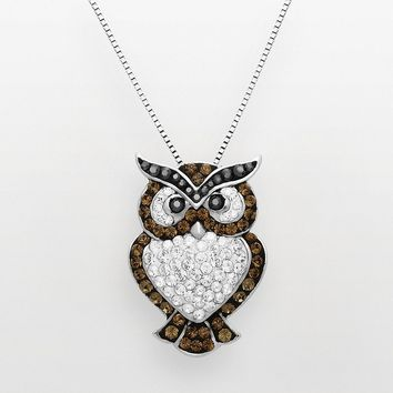 Artistique Sterling Silver Crystal Owl Pendant - Made With Swarovski Elements (Brown)