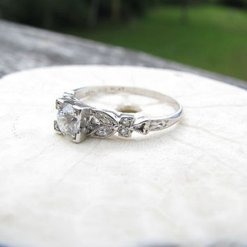 Charming Art Deco Platinum Diamond Engagment Ring - Fiery Old Mine Cut Diamond - Old Cut Marquise Diamond Leaf Design - Beautiful