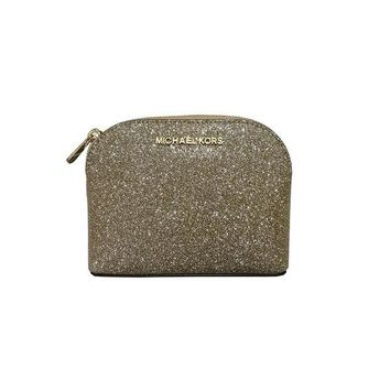 DCCKUG3 Michael Kors Glitter Leather Medium Cosmetic Case Travel Pouch Pale Gold