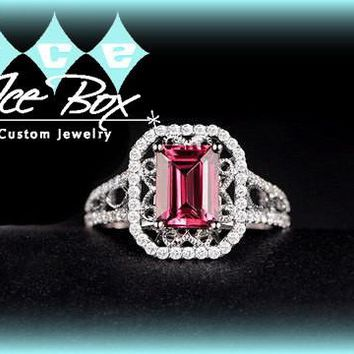 Tourmaline Ring 1.8ct, 6 x 8mm Emerald Cut Tourmaline in a 14k White Gold Diamond Halo Setting