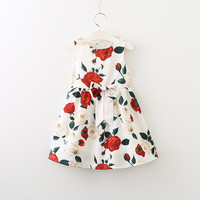 Sleeveless Roses Floral Design for Baby Girls Dress A-Line Princess Dress 3-8Y