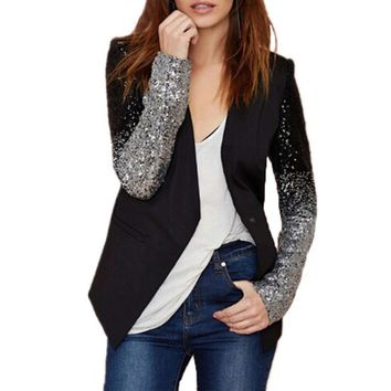 2017 Spring Women Blazer Female Work Suit Spring Long Sleeve Lapel Silver Black Sequins Elegant Ladies feminino Plus Size S-4XL