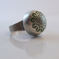 Silver Dome flowery stamp ring by AndreaBacmanJewelry on Etsy