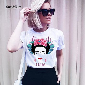 Susi&Rita Summer Cotton T-Shirt Women Harajuku Frida Kahlo Printed T Shirt 2018 Casual Tops Streetwear Punk Tee Shirt Femme