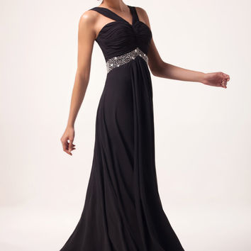 Black Sleeveless Pleats Beads  Flounce Chiffon Maxi Dress