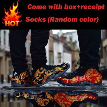 Best Online Sale Supreme x Nike Air Foamposite One 1 Varsity Red/Gold-Black-White Bask