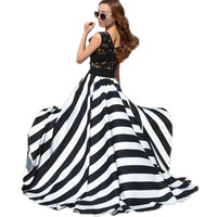 Vestidos 2017 Women Summer Hollow Out Lace Patchwork Stripe Sleeveless O-neck Boho Beach Long Maxi Party Dresses Plus Size-0407