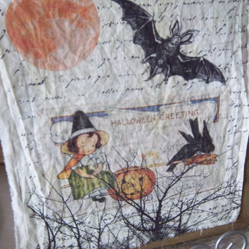 Halloween quilt square, fall fabric block, moon bat witch, sew on patch, cotton muslin, quilt block, vintage reproduction, fabric panel