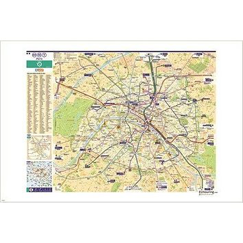 paris metro map COLLECTORS INTERNATIONAL city poster DETAILED HISTORIC 24X36