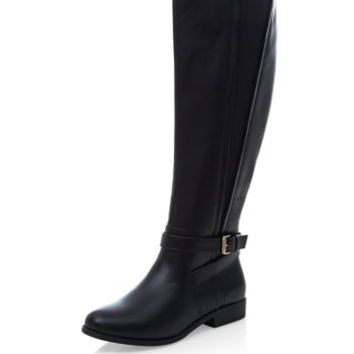 Black Elasticated Side Riding Boots