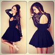 New Fashion Black Lace Patchwork Backless Cute Long Sleeve Evening Party Dress Ball Dress
