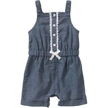 Garanimals Newborn Girl Chambray Romper - Walmart.com