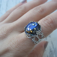 Galaxy Opal Ring- Simulated Gem Art Glass Blue Navy Blue Black Fire Opal Adjustable Filigree One Size 5 6 7 8 9
