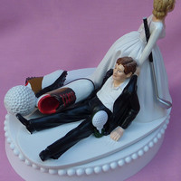Wedding Cake Topper Golf Fan Golfing Groom Golfer Sports Themed w/ Garter, Display Box