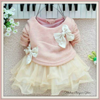 Cute Baby Girls Knitted With Bow Infants Newborn Tutu Dress