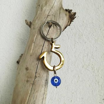 No 15 keyring, brass 'fifteen' key chain, unique, No 15 keychain, arty 'fifteen', '15' art object with blue eye, unisex '15' art gift