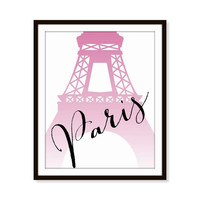 Paris French Print Travel Eiffel Tower 5x7, 8x10, 11x14 Typography Art Print, Wall Decor, Home Decor