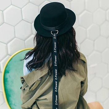 Women Personality Fashion Long Letter Ribbon Cap Wool Bowler Hat Large Brimmed Hat