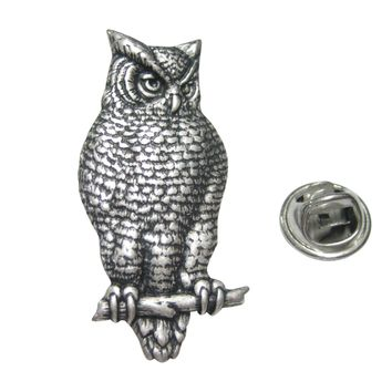 Silver Toned Large Textured Owl Lapel Pin