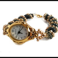 Women's Black Gold Hand Beaded Wrist Watch | Spiral Rope Band Ladies Water Resistant Wrist Watch | Lady Green Eyes Jewelry