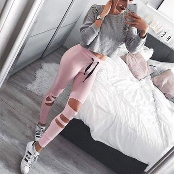 Push up 2017 Polyester Punk Style Women Sporting Leggings Compression Wasit Hollow Out Fitness Legging Workout Leggins For Women
