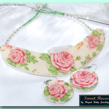Sweet Roses, handmade set, statement necklace, statement handmade necklace,decoupage necklace, roses necklace