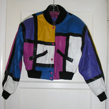 cropped leather jacket 1990s vintage hipster colorblock mondrian size medium large