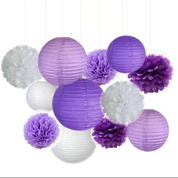 Purple Lavender White Party Tissue Poms & Lantern Set-DIY Kids Party Set, Paper Lantern| Purple Baby Shower |Purple Birthday |Purple Bridal