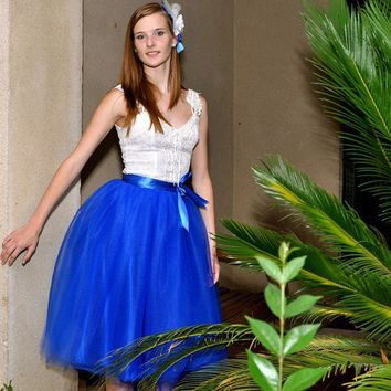 Blue lined tulle tutu skirt in royal or navy.  Prom, holiday or any special dress up occasion.