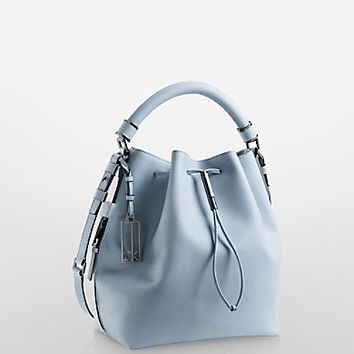 galey saffiano leather convertible drawstring bucket bag | Calvin Klein
