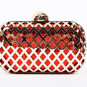 New Metal Diamond Glitter Cut Out Clutch Hangbag
