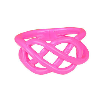 Pink Neon Dipped Pretzel Ring