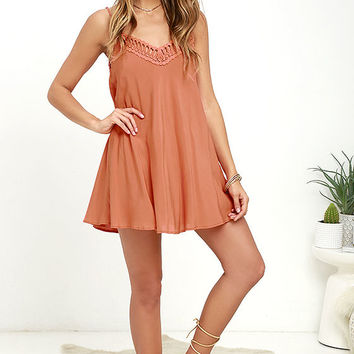 Lady Daydream Rust Orange Crochet Dress