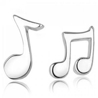 Pair of Alloy Asymmetric Music Note Shape Earrings - Silver