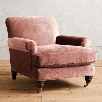 Slub Velvet Willoughby Chair, Hickory
